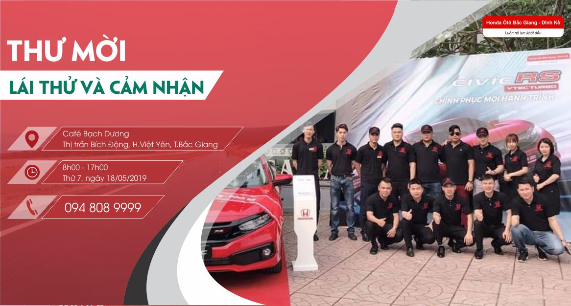 Thư Mời Lái Thử Và Trải Nghiệm Mẫu Xe Honda Ôtô Tại Việt Yên, Bắc Giang