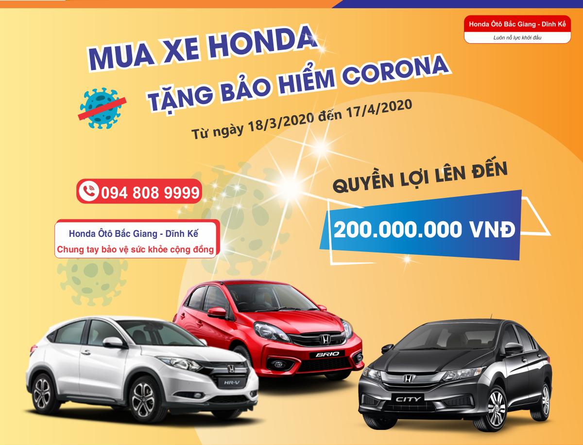 MUA XE Honda - TẶNG BẢO HIỂM CORONA - QUYỀN LỢI LÊN ĐẾN 200 TRIỆU ĐỒNG