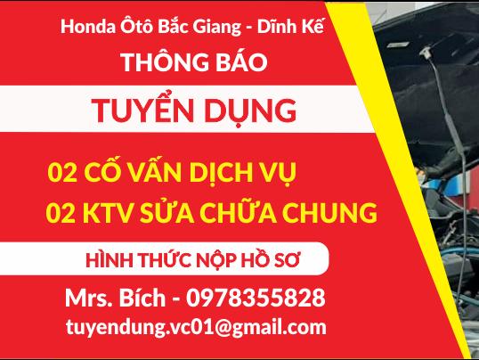 Honda Ôtô Bắc Giang - Dĩnh Kế thông báo Tuyển Dụng Tháng 09/2021